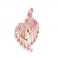 cirkonia két szárny medál rose gold