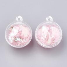 kagylós-csigás-flitteres műanyag gömb medál rózsaszín