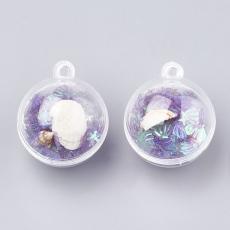 kagylós-csigás-flitteres műanyag gömb medál lila