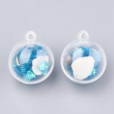 kagylós-csigás-flitteres műanyag gömb medál türkizkék