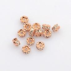 strasszos rondell 4 mm: rose gold áttetsző