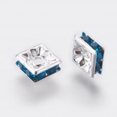 strasszos négyzet rondell 6 mm: blue zircon