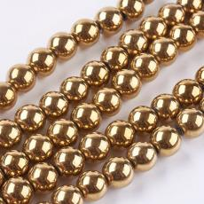 szintetikus hematit gyöngy 10 mm 10 db antik arany
