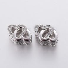 cirkonia két szív nagy lyukú köztes platinum