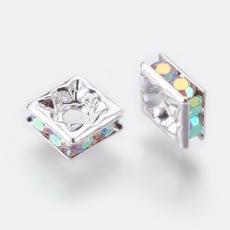 strasszos négyzet rondell 6 mm: kristály AB