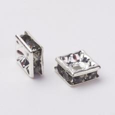 strasszos négyzet rondell 6 mm: black diamond