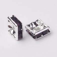 strasszos négyzet rondell 6 mm: sötét ametiszt