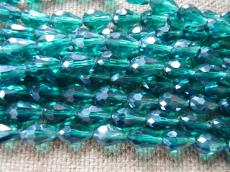 csepp alakú gyöngy 11 mm: lüszteres kékeszöld 10 db