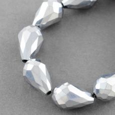 csepp alakú gyöngy 15 mm: metál ezüst 5 db
