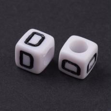 akril betű gyöngy fehér-fekete D