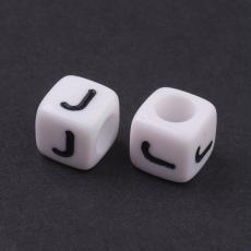 akril betű gyöngy fehér-fekete J