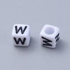 akril betű gyöngy fehér-fekete W