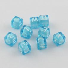 akril betű gyöngy világoskék-fehér G
