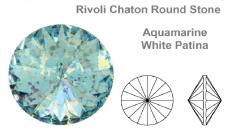 sw rivoli aquamarine silver patina 8 mm ss39 fóliázatlan