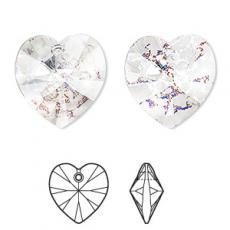 10 mm szív függő crystal white patina