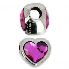 BeCharmed metal gyöngy szív fuchsia
