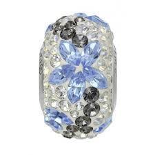 BeCharmed pavé gyöngy white opal-light sapphire virágos