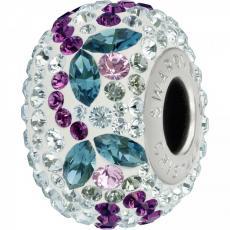 BeCharmed pavé gyöngy blue zircone virágos