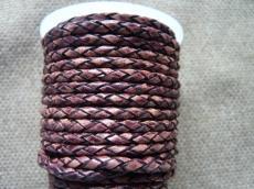 3 mm fonott bőrszál vintage lilásbordó 10 cm