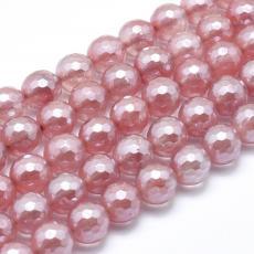 fazettált szintetikus cseresznyekvarc 8 mm-aura kvarc szál