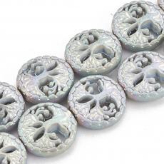 szintetikus hematit gyöngy életfás matt metál ezüst-szivárványos