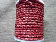 3 mm fonott bőrszál vintage piros 10 cm
