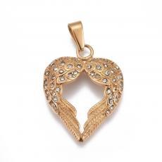 rozsdamentes acél arany színű két szárny medál strasszokkal