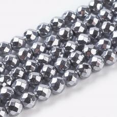fazettált szintetikus hematit ezüst 3 mm szál