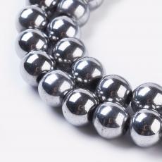 szintetikus hematit gyöngy 8 mm 10 db platinum színű