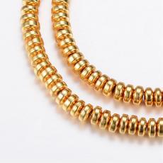 szintetikus hematit rondell gyöngy 20 db arany színű