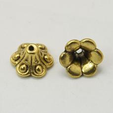 antik arany színű kúpos gyöngykupak 10 db