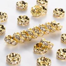 strasszos rondell arany 8 mm: áttetsző