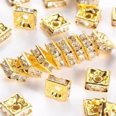 strasszos négyzet rondell arany 6 mm: áttetsző