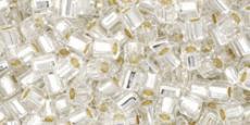 Toho 8/0 hexagon ezüst közepű kristály 10 g
