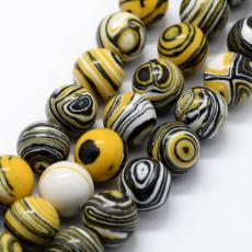 szintetikus malachit 8 mm szál sárga-fekete-fehér