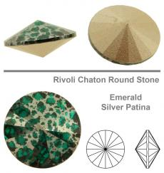 sw rivoli emerald silver patina 12 mm