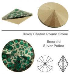 sw rivoli emerald silver patina 12 mm