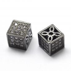 cirkonia fekete-kristály kocka köztes 1 db 8 mm