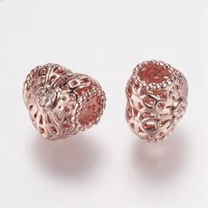 cirkonia rose gold színű filigrán szív alakú köztes 1 db