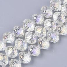 kagyló alakú gyöngy: kristály AB 5 db
