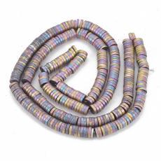 matt multikolor színű szintetikus hematit korong gyöngy 4 mm szál
