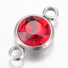 17 x 10 mm rozsdamentes acél strasszköves távtartó piros