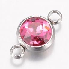 17 x 10 mm rozsdamentes acél strasszköves távtartó rózsaszín