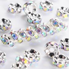 Strasszos rondell 6 mm: kristály AB