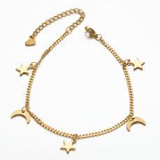 rozsdamentes acél hold-csillag karkötő arany