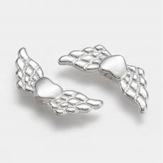 ezüst színű szivecskés angyalszárny 10 db