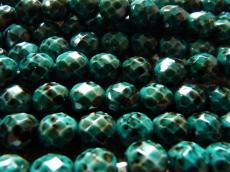 csiszolt gyöngy 8 mm: kékesfekete lüszteres telt fehér 20 db