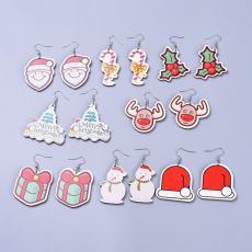 karácsonyi mintás nagyobb fülbevaló: cukorrudas