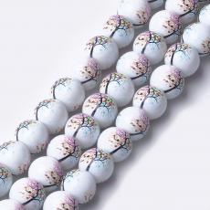 12 mm fehér kerek gyöngy színes életfás 1 db