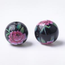 10 mm fekete kerek gyöngy rózsaszín rózsás 1 db